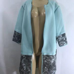 Tahari NWT stylish jacket/ pea coat  front Zipper,